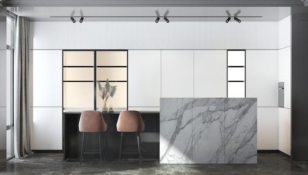 현대 럭셔리 하우스와 식당 및 벽 질감 배경의 인테리어 디자인