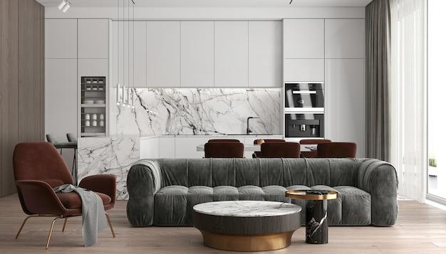 현대 럭셔리 하우스와 거실 및 벽 질감 배경의 인테리어 디자인