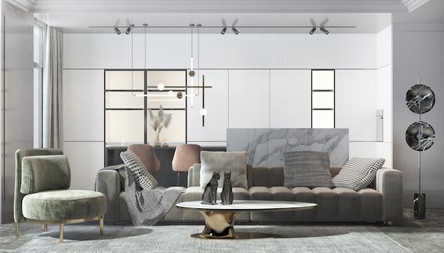 현대 럭셔리 하우스와 거실과 흰 벽 질감 배경의 인테리어 디자인