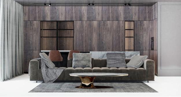 현대 럭셔리 하우스와 거실과 나무 벽 질감 배경의 인테리어 디자인