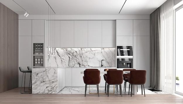 현대 럭셔리 하우스와 식료품 저장실과 식당 및 벽 질감 배경의 인테리어 디자인