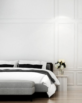 Modern luxury house and interior design of bedroom and white wall texture background