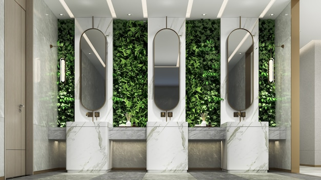 Modern luxury interior design of beautiful restroom and bathroom and green wall