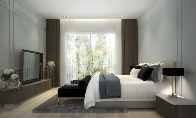The modern luxury interior design of bedroom
