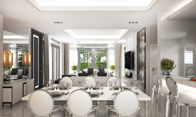 The modern luxury interior design of dining and living room and white wall