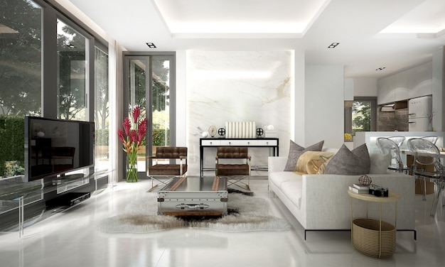 The modern luxury interior design of living room and white wall