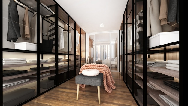 Modern luxury interior design of walk in closet and wardrobe and display cabinets