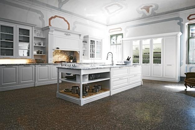 빈티지 스타일의 현대적인 고급 주방 인테리어 디자인