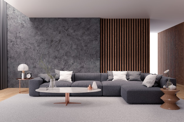 Modern luxury living room interior , black sofa with dark concrete wall