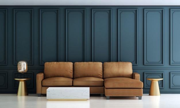 モダンで豪華なリビングルームのインテリアデザインと茶色のソファと青いパターンの壁の背景