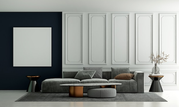 Modern luxury living room interior design and white sofa and white pattern wall background