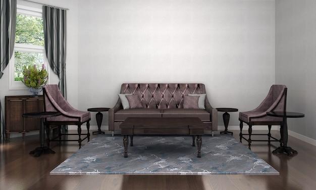 Современный роскошный макет интерьера гостиной и пустая белая текстура стены фоновый декор и деревянный пол 3d-рендеринг