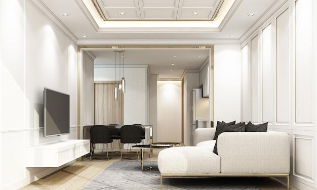 クラシックな要素と家具の3 dレンダリングを備えたモダンで豪華なリビングとダイニングエリア