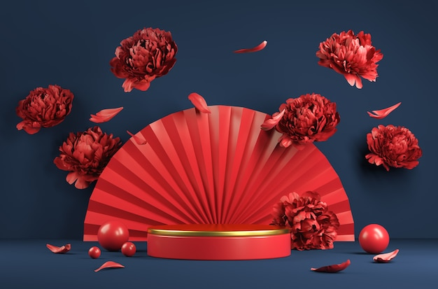 Modern luxury red golden podium with paper fan and peony flower fall abstract background