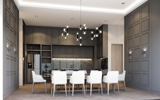 Современная столовая в роскошном стиле с отделкой из дерева и мрамора в серых тонах, 3d-рендеринг