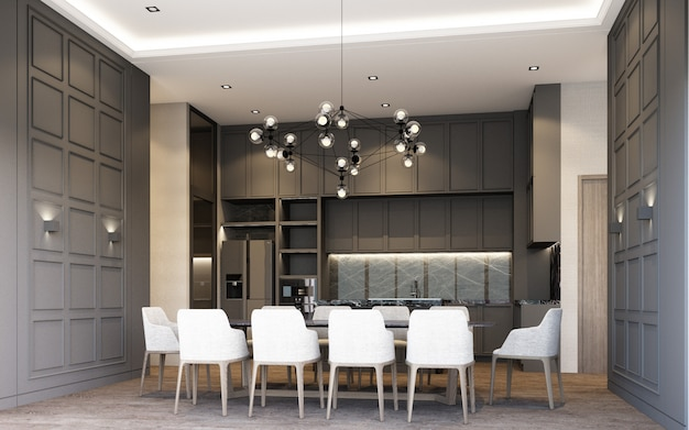 Modern luxury style dining area with wooden and marble decoration in grey tone, 3d rendering