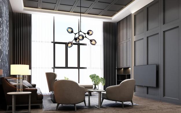 Современная роскошная гостиная с отделкой из дерева и мрамора в серых тонах