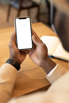 Modern man checking his phone