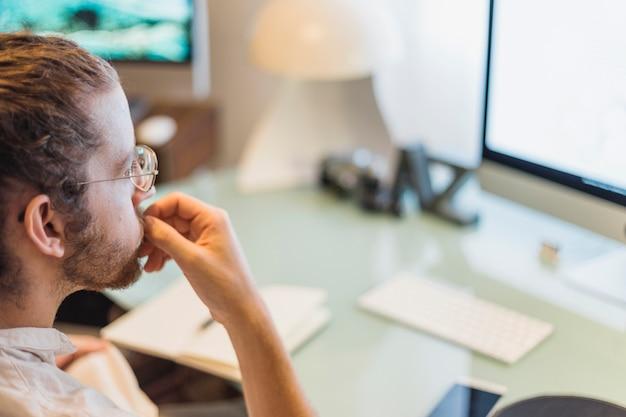 Modern man at desk