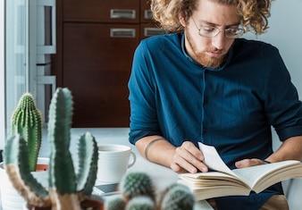 Modern man reading