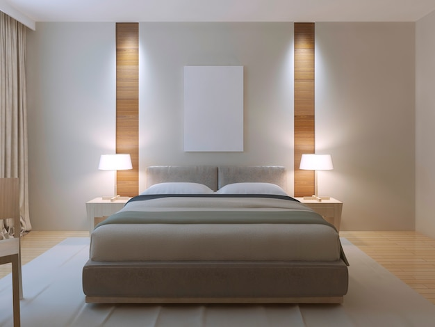 Modern master bedroom design with double bed with lether headboard