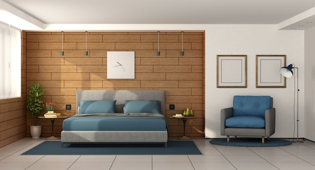 Modern master bedroom with double bed