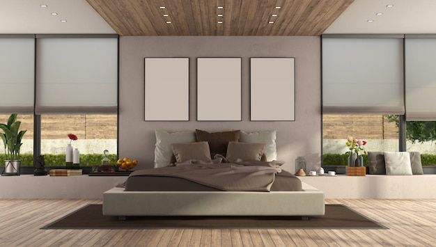 大きなダブルベッドを備えたモダンなマスターベッドルーム