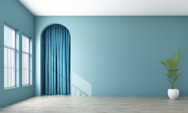 Modern memphis interior with blue wall and blue curtain behide arch 3d rendering