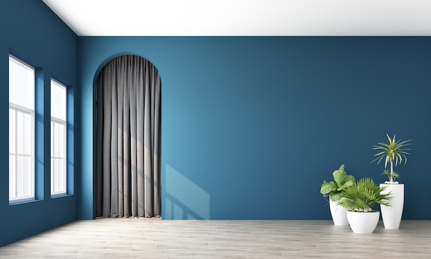 Modern memphis interior with deep blue wall and grey curtain behide arch 3d rendering