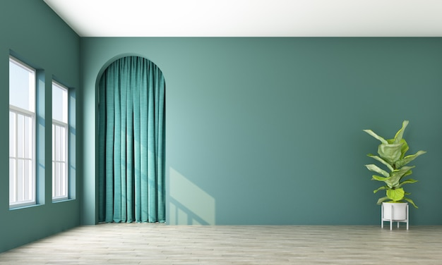 Modern memphis interior with green wall and green curtain behide arch 3d rendering