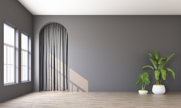 Modern memphis interior with grey wall and grey curtain behide arch 3d rendering