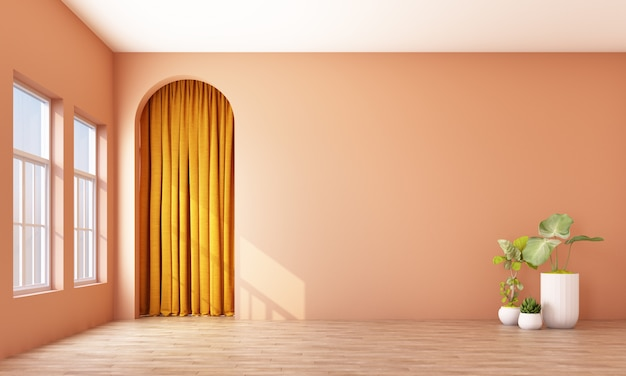 Modern memphis interior with orange wall and yellow curtain behide arch 3d rendering