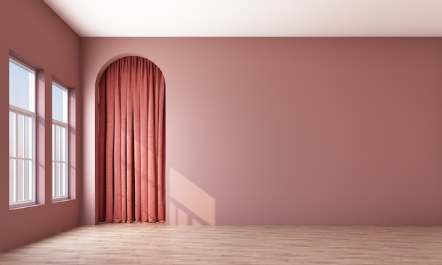 Modern memphis interior with pink wall and pink curtain behide arch 3d rendering