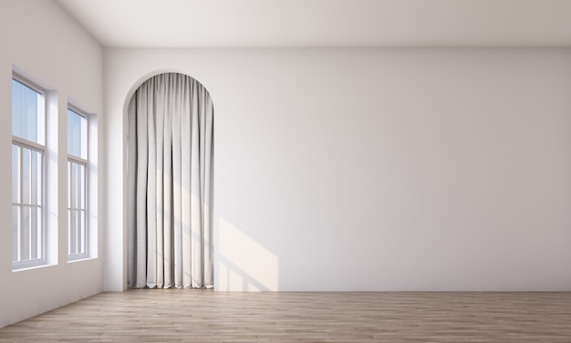 Modern memphis interior with white wall and white curtain behide arch 3d rendering