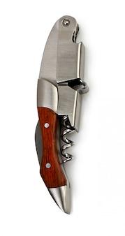 Modern metal corkscrew on a white