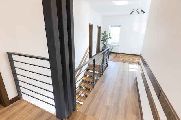 Modern metal stairway in scandinavian interior