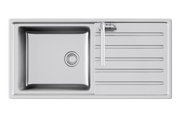 흰색 바탕에 스테인리스 스틸 수도꼭지가 있는 현대적인 금속 주방 싱크대. 3d 렌더링.