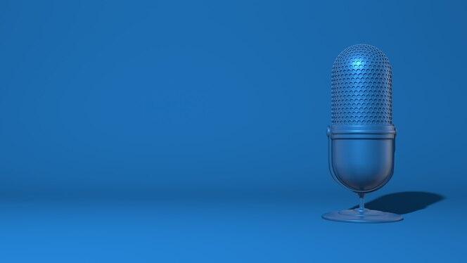 스트림, 비디오 블로거를위한 최신 마이크. 트렌디 한 클래식 블루 컬러. 3d 렌더링