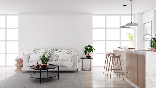 Modern mid century living and kichen room interior