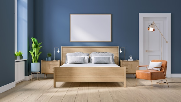 Modern mid century and minimalist interior of bedroom