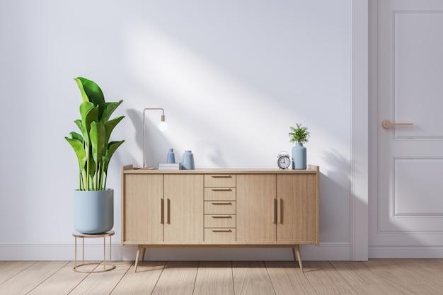 Modern mid century and minimalist interior of living room