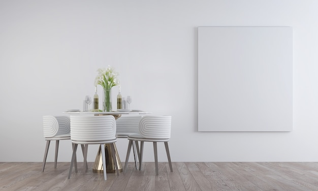 Modern minimal  design of dining room interior with canvas frame on the white pattern wall, 3d render