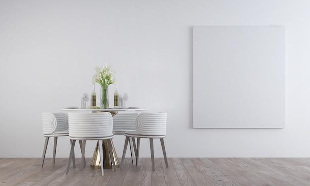 흰색 패턴 벽에 캔버스 프레임이있는 식당 인테리어의 현대 최소한의 디자인, 3d 렌더링