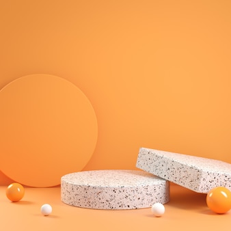 Modern minimal geometric composition platform terrazzo with orange color