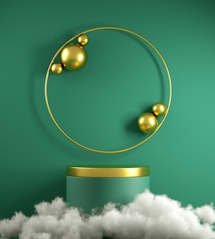 Modern minimal green podium stage and gold primitive geometric shape with white cloud background 3d render