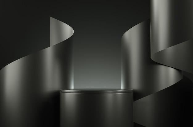 Современный минимальный макет черный этап и ленты абстрактный фон 3d-рендеринга