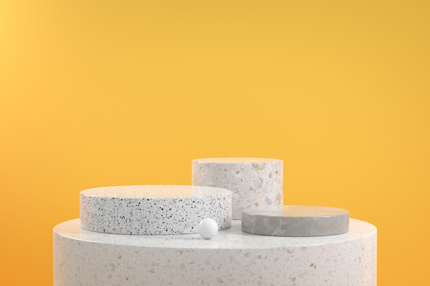 Modern minimal mockup display marble set geometry on yellow background 3d render