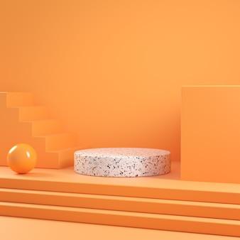 Modern minimal mockup podium geometric orange scene abstract background 3d render