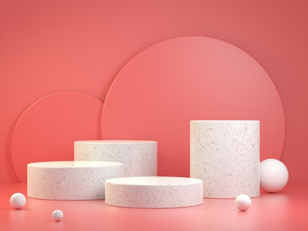 Modern minimal podium geometry shape set collection. 3d render