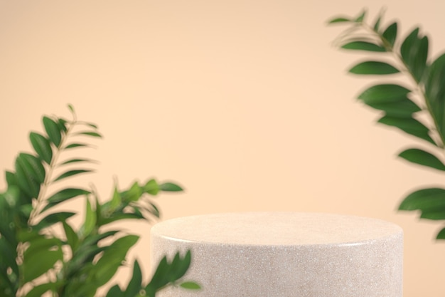 Modern minimal stone podium with foreground tropical plant depth of field beige color background 3d render